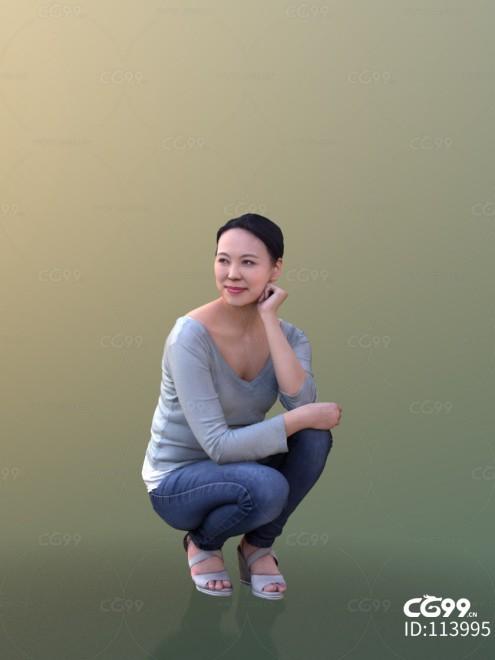 3D扫描角色 现代女性 休闲服饰 蹲姿