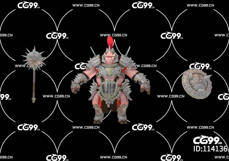 PBR 欧美 角色 游戏模型 猪怪 野猪战士