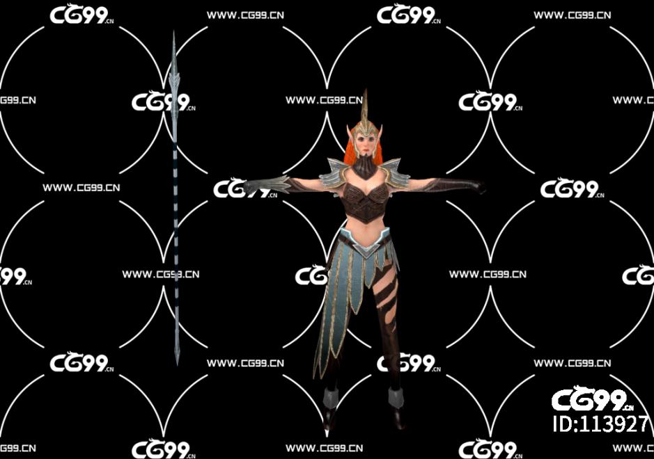 游戏模型 PBR 精美角色 骑士 女骑士