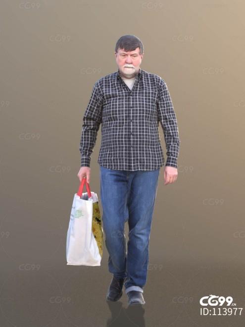 3D扫描角色 现代男性 大叔 购物 逛街