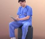 3D扫描角色 现代男性 手术医生 护士 端坐