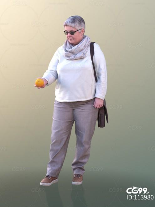 3D扫描角色 现代女性 大妈 购物
