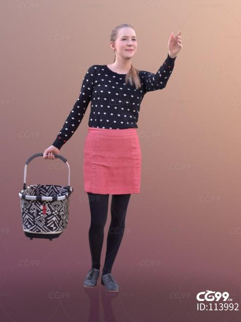 3D扫描角色 现代女性 休闲服饰 购物