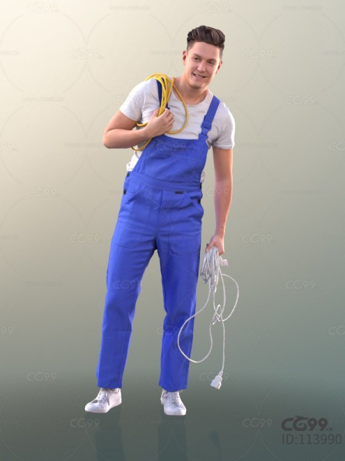 3D扫描角色 现代男性 工装服大叔 维修工
