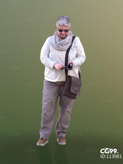 3D扫描角色 现代女性 大妈 购物结账