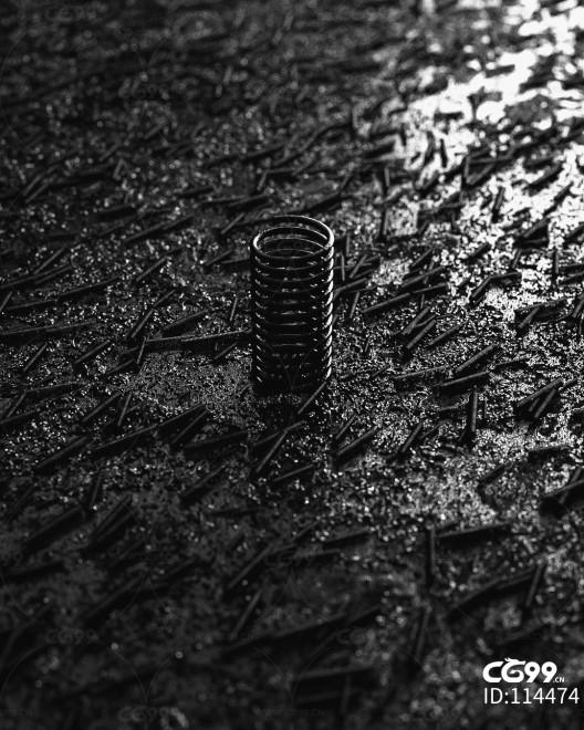 创意 幻想 弹簧 黑白 模型 场景