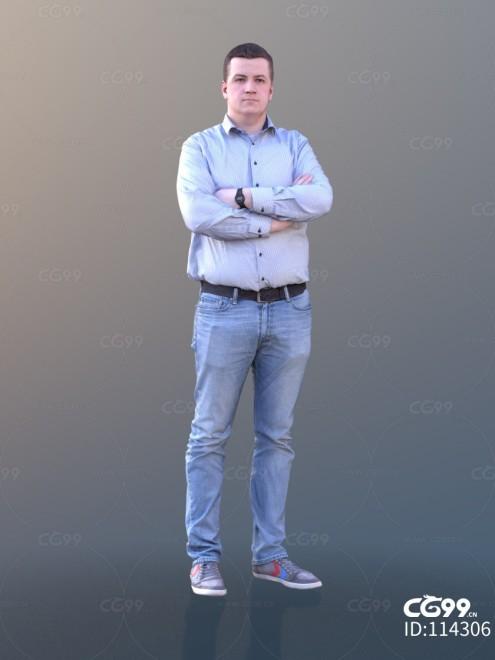 3D扫描人物角色 现代男性 休闲衬衫 上班族