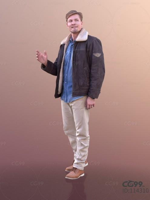 3D扫描人物角色 现代男性 休闲衬衫 飞行员夹克