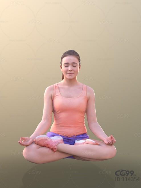 3D扫描人物角色 现代女性 运动服 瑜伽