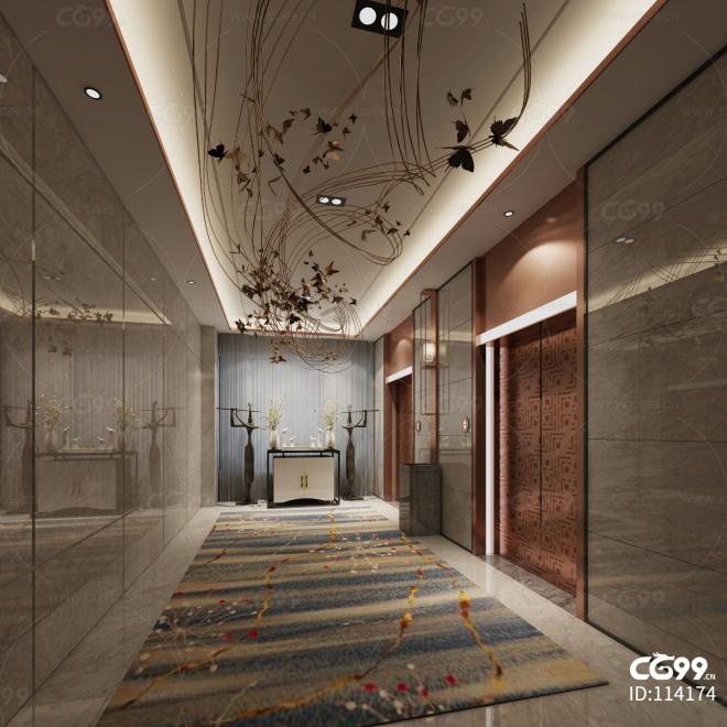 中式风格电梯过道空间