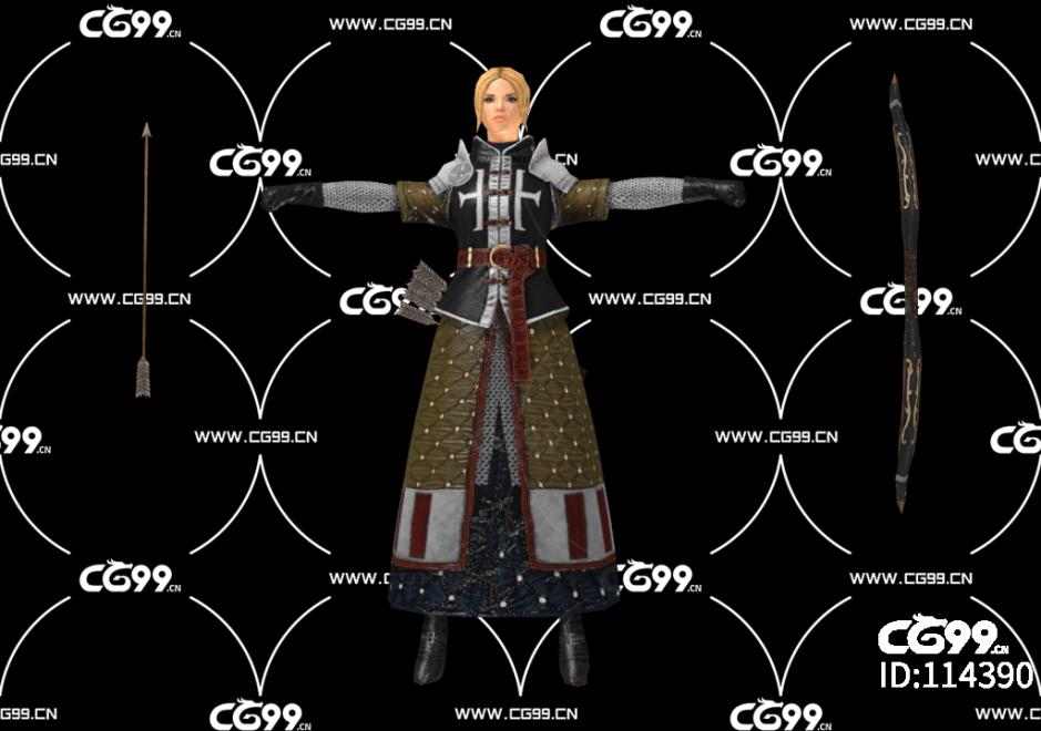 PBR 欧美 角色 游戏模型 女射手 弓箭手