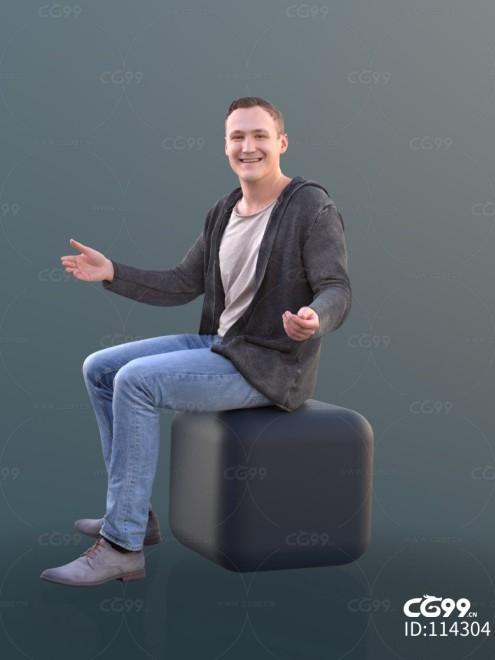 3D扫描人物角色 现代男性 休闲服饰 端坐