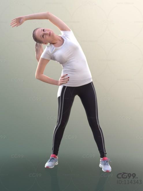 3D扫描人物角色 现代女性 运动服 瑜伽 拉伸