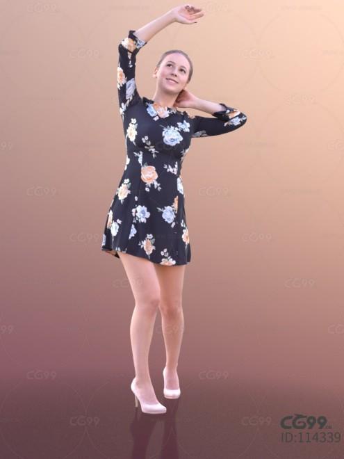 3D扫描人物角色 现代女性 夏季印花短裙