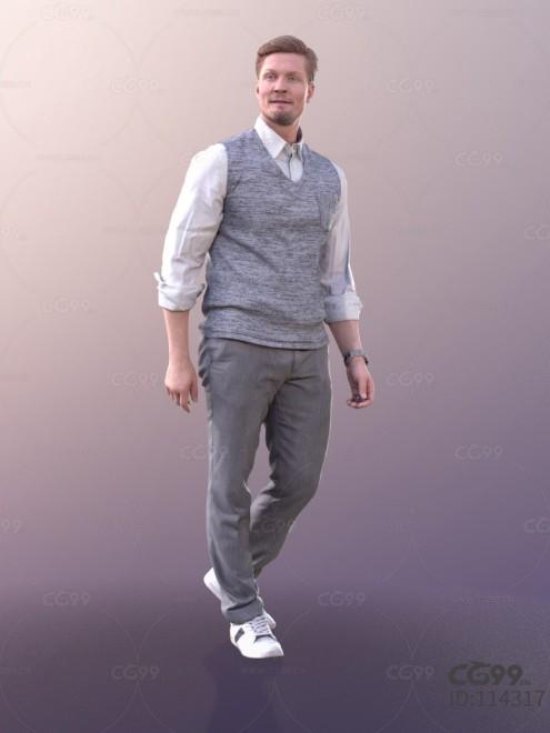 3D扫描人物角色 现代男性 西装 棉质夹克