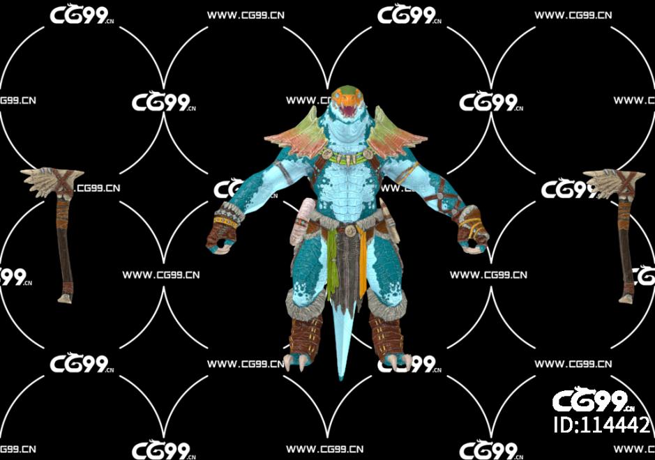 游戏模型 PBR 精美角色 恐龙 战士 斧兵