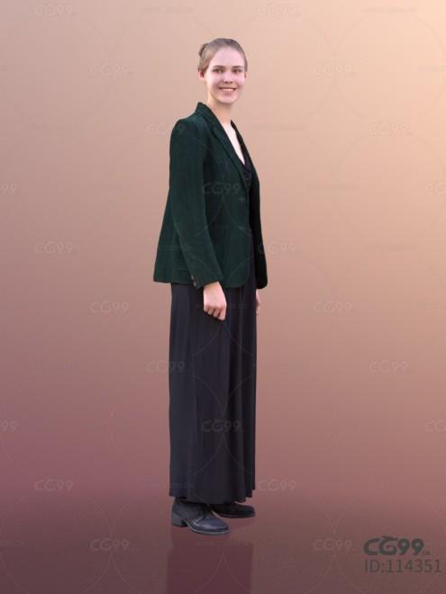 3D扫描人物角色 现代女性 冬季服饰 毛绒西装 礼服