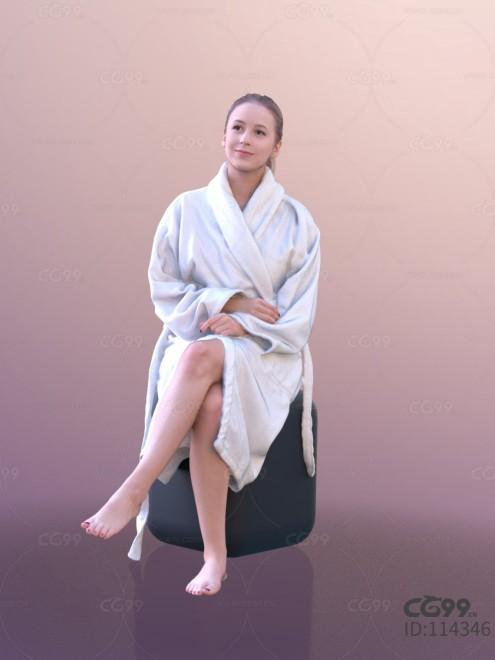 3D扫描人物角色 现代女性 度假 浴袍(坐)