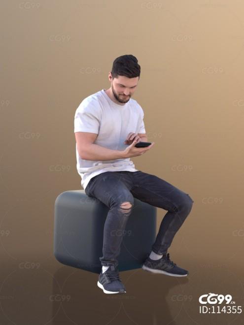 3D扫描人物角色 现代男性 穿窿牛仔裤(坐)
