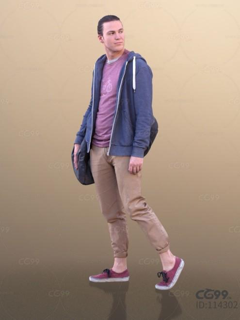 3D扫描人物角色 现代男性 休闲服饰(运动外套)