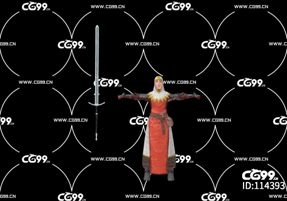 PBR 欧美 角色 游戏模型 十字架 女骑士