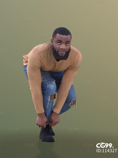 3D扫描人物角色 现代男性 黑人 休闲服饰 系鞋带