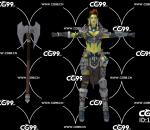 PBR 欧美 日系 游戏模型 武士 女性 绿皮恶魔