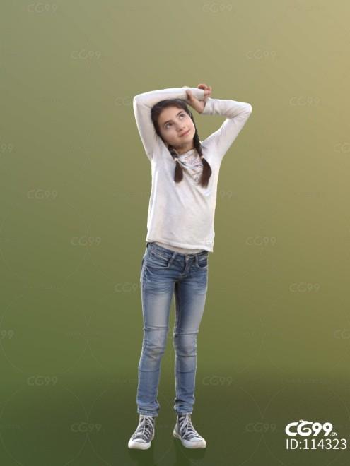 3D扫描人物角色 现代小孩 少女 休闲服饰