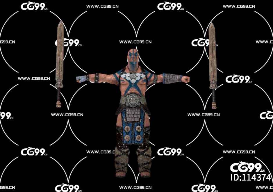 PBR 欧美 日系 游戏模型 持剑武士