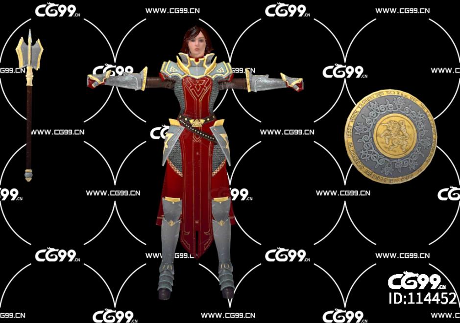 PBR 欧美 日系 游戏模型 女骑士 战士