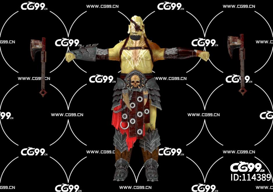 PBR 欧美 角色 游戏模型 土著 美洲 战士 斧头