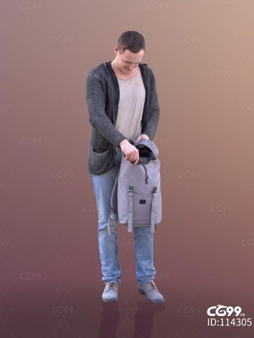 3D扫描人物角色 现代男性 休闲服饰 从背包拿东西