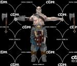 PBR 欧美 日系 游戏模型 双斧 土著战士 士兵