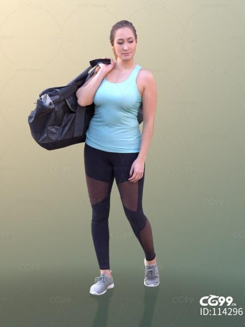 3D扫描人物角色 现代女性 运动服