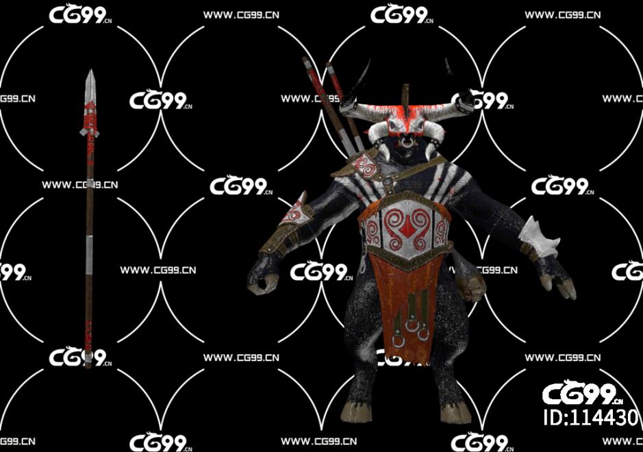PBR 欧美 角色 游戏模型 牛头人 怪物 恶魔