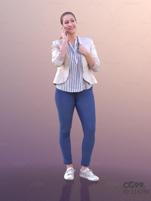 3D扫描人物角色 现代女性 休闲西装