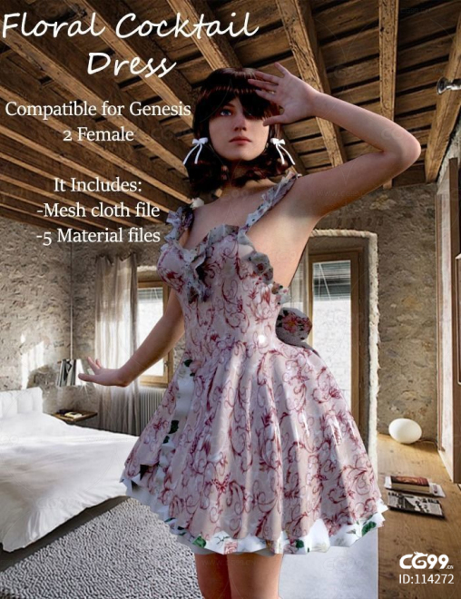Floral Dress Complete Set-For Genesis Female