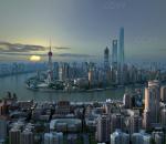 上海 陆家嘴 清晨动画 上海中心 外滩