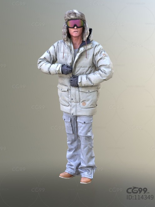 3D扫描人物角色 现代男性 冬季服饰