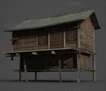古代建筑的木屋