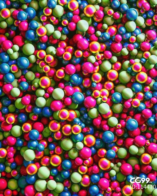 创意 幻想 彩色 圆球 模型 场景