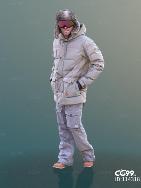 3D扫描人物角色 现代男性 冬季登山装