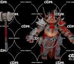 PBR 欧美 角色 游戏模型 狂战士 武士