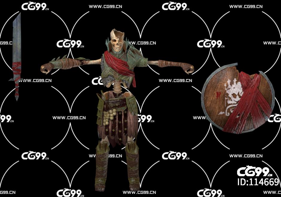 PBR 欧美 角色 游戏模型 地狱 骷髅战士 小兵 npc