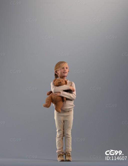 3D扫描角色 写实小孩 抱着小熊