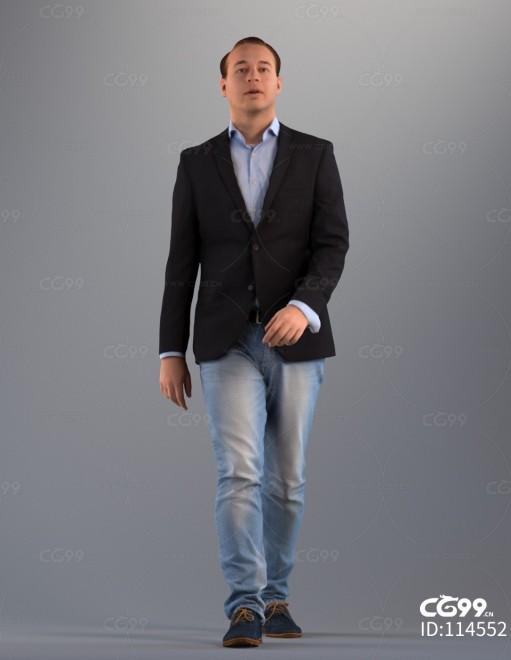 3D扫描角色 写实人物 休闲西装服饰 牛仔裤 BOSS
