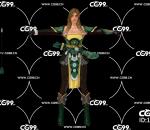 游戏模型 PBR 精美角色 绿衣女弓箭手 精灵