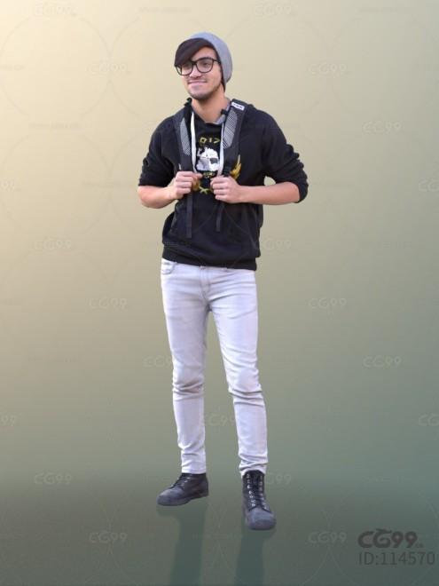 3D扫描角色 写实男性 休闲服饰 卫衣