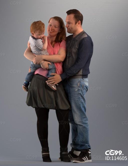 3D扫描角色 写实人物 幸福一家人