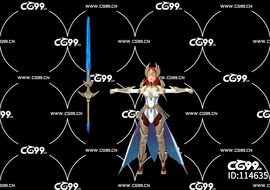 PBR 欧美 角色 游戏模型 女剑士 武士